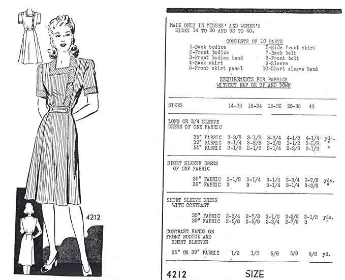 1940 Misses' and Women's Square-Neck Dress at Amazon Women's