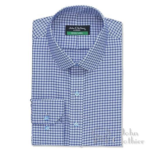 f709186d62ed7 WhitePilotShirts Round Collar Peaky Blinders Mens Shirt Blue Checks ...