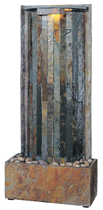 kenroy home 50285sl waterwall indoor tablewall fountain in natural slate finish