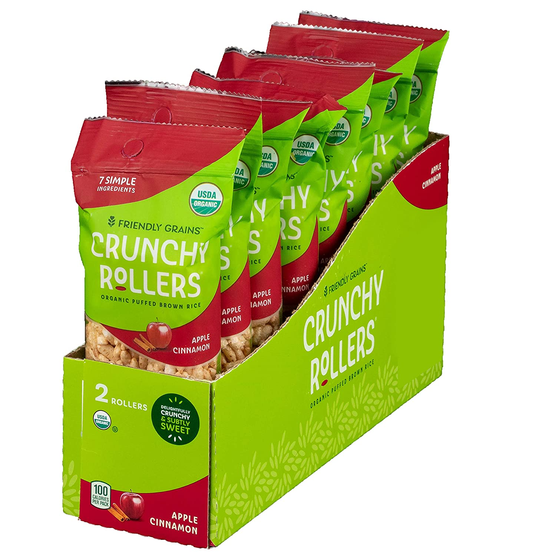 Crunchy Rice Rollers - Organic Snacks - Gluten Free - Allergy Friendly - Apple Cinnamon (8 Packs of 2 Rollers)