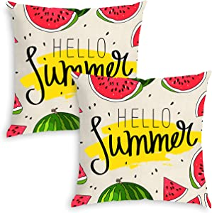 QoGoer Summer Pillow Covers, Watermelon Pineapple Tropical Fruit Decor Pillow Case 18 x 18 Inch Set of 2, Cotton Linen Cushion Covers for Home Car Sofa Bedding Decorative (Red)