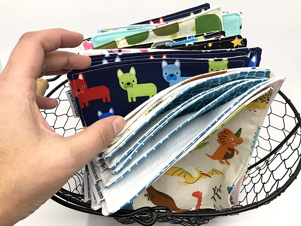 Lunch Napkins For Kids Zero Waste Illustrated Dogs on Light Blue Set of 2 or 5