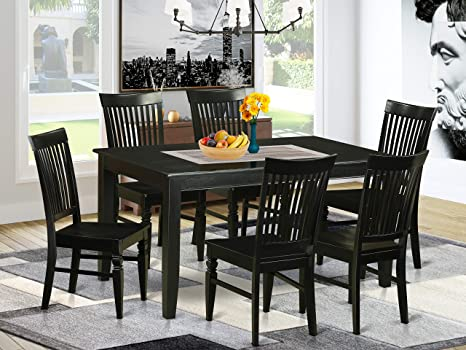 Amazon Com East West Furniture 7 Pc Dining Set Included A Modern Rectangular Dining Table And 6 Dining Room Chairs Solid Wood Dining Chairs Seat Slatted Back Black Finish Furniture Decor