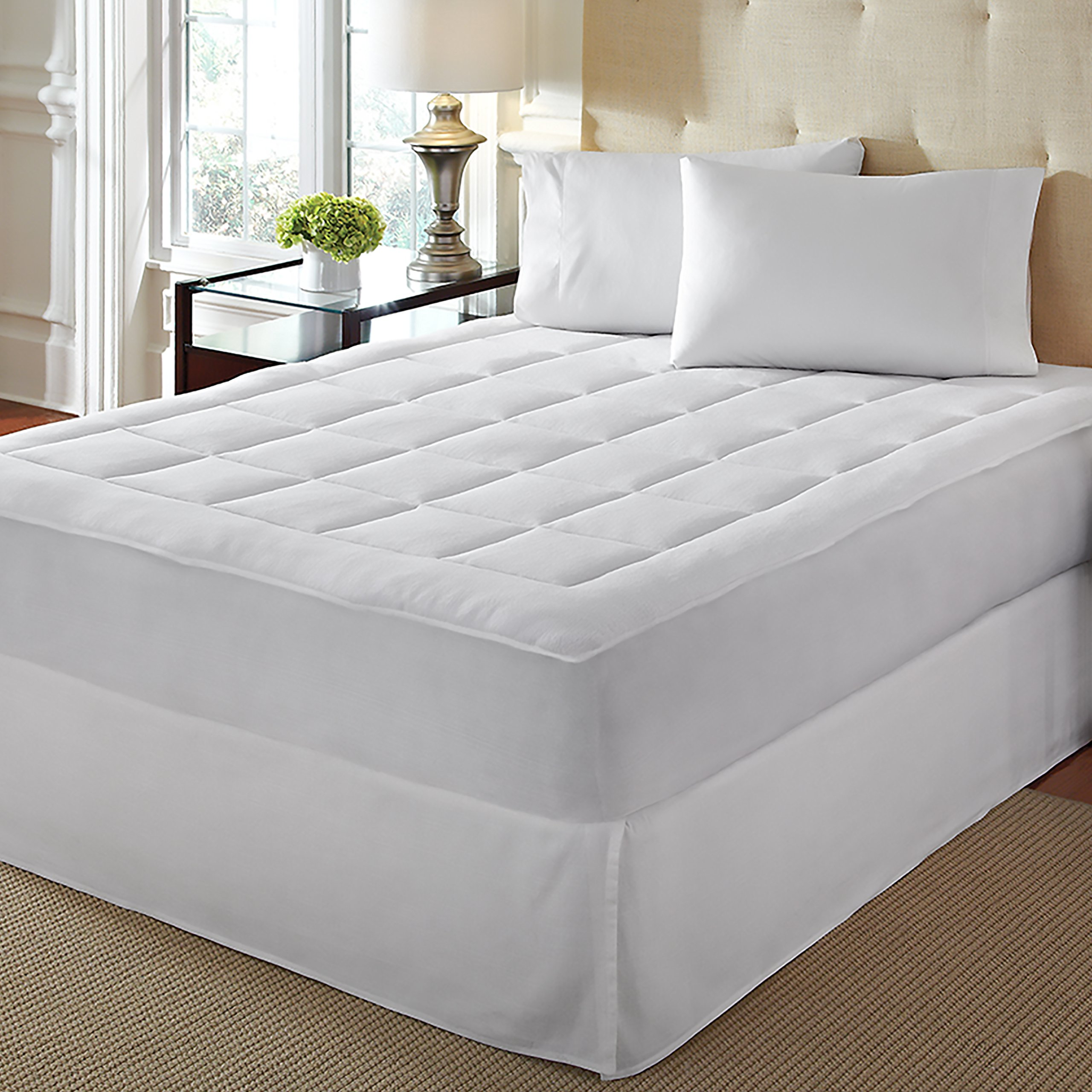 LoftWorks Rio Home Fashions Microplush Overfilled California King Mattress Pad, White