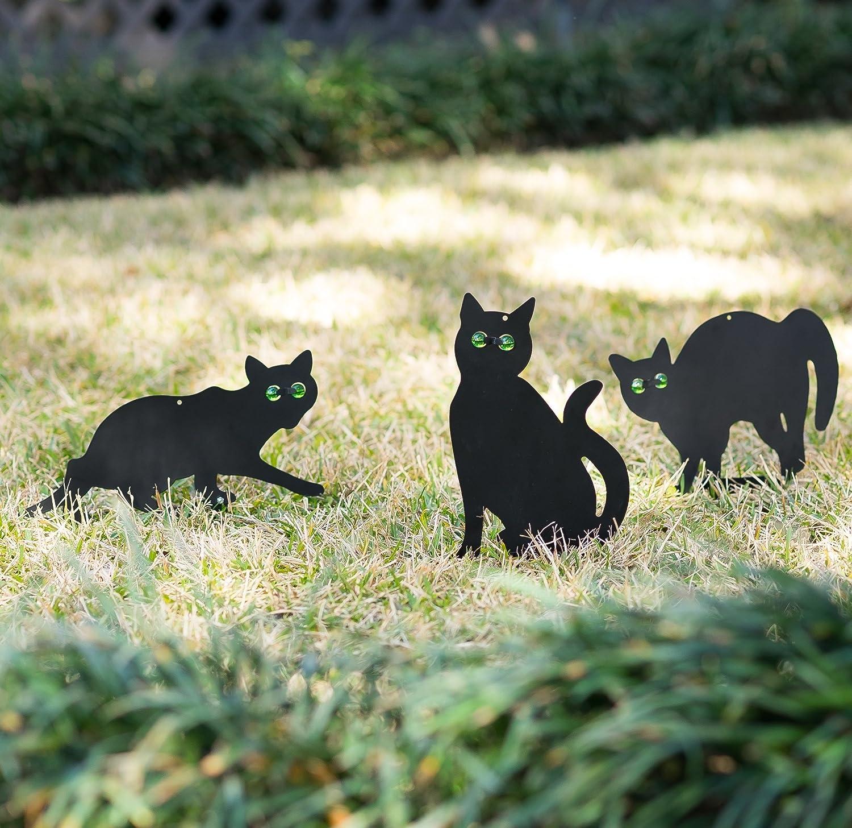 Metal Halloween Cat Yard Stakes