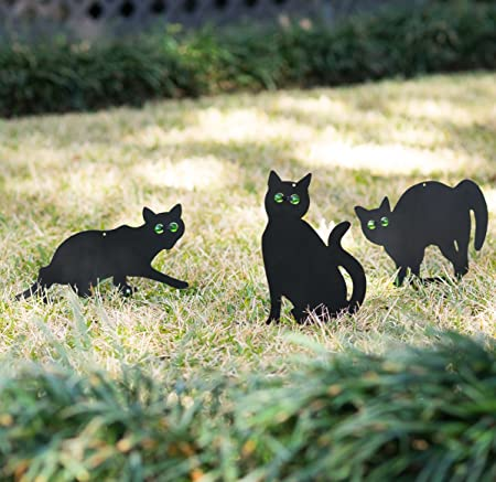 Halloween Black Cats with LIGHTED EYES CAT Sculptures