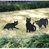 OneLeaf Garden Scare Cats – Humane Pest Control Statues with Reflective Eyes (Set of 3)