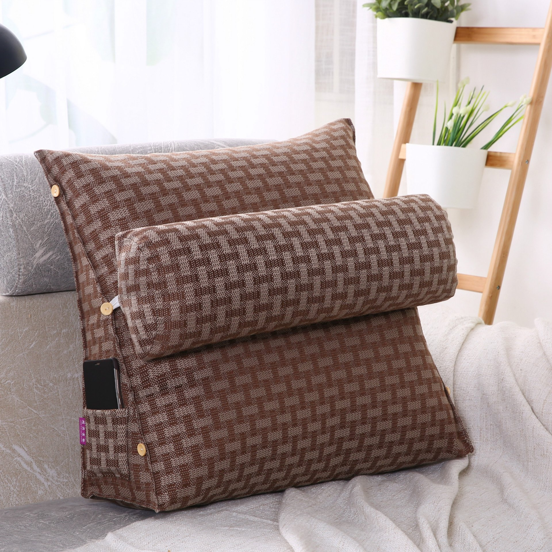 LUOTIANLANG Office sofa cushion pillow waist pillow for pregnant women Home Furnishing ornaments triangle comfortable cushion,Tartan,50x200x20cm