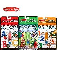 Melissa & Doug On the Go Water Wow! 水画笔,可重复使用的Water-Reveal水画本,3-pk,动物、字母、数字套装
