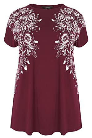 0d90bf964e92d Yours Clothing Women s Plus Size Burgundy Floral Stud Embellished Top Size  16 Red