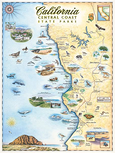 Amazon Com Central California Map Wall Art Poster Authentic Hand Drawn Maps In Old World Antique Style Art Deco Lithographic Print Posters Prints