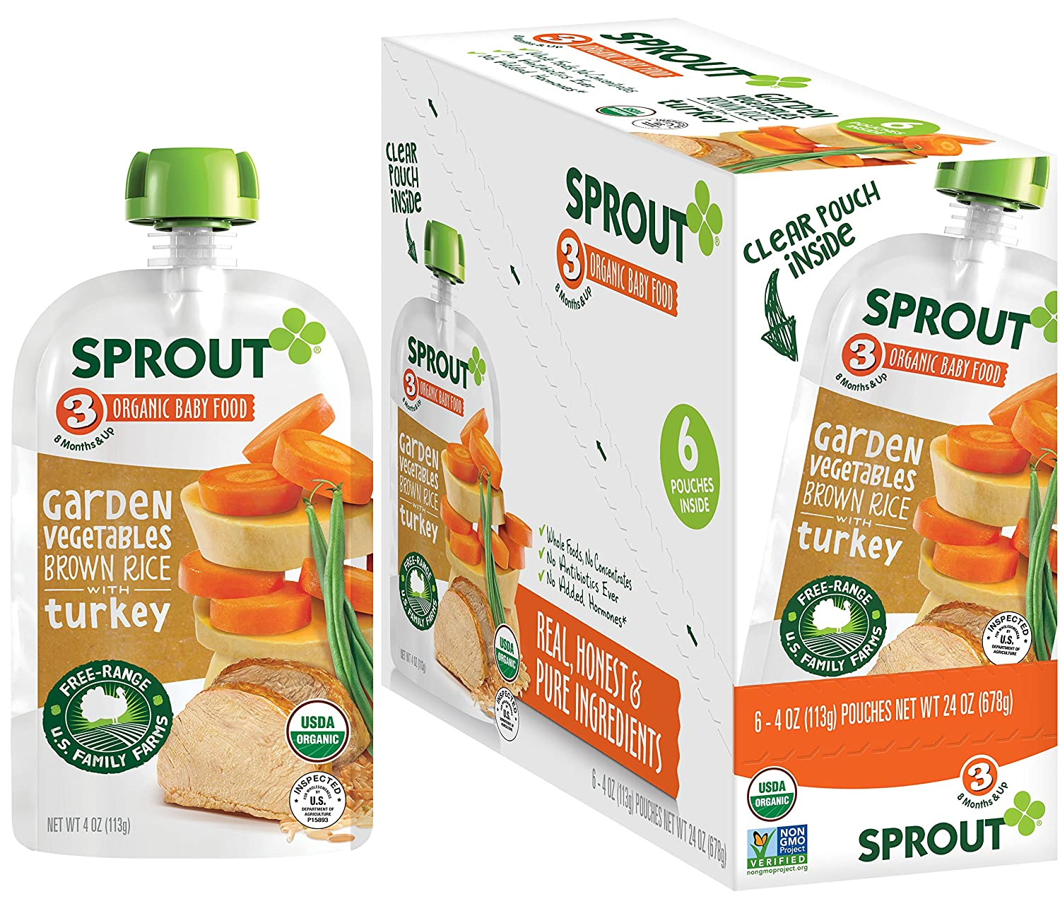 Sprout Organic Stage 3 Baby Food Pouches, Garden Vegetables Brown Rice w/ Turkey, 4 Ounce (Pack of 12)