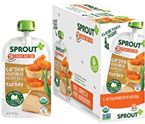 Sprout Organic Baby Food Pouches Stage 3, Garden Vegetables Brown Rice w/ Turkey, 4 Ounce Pouches (Pack of 6)