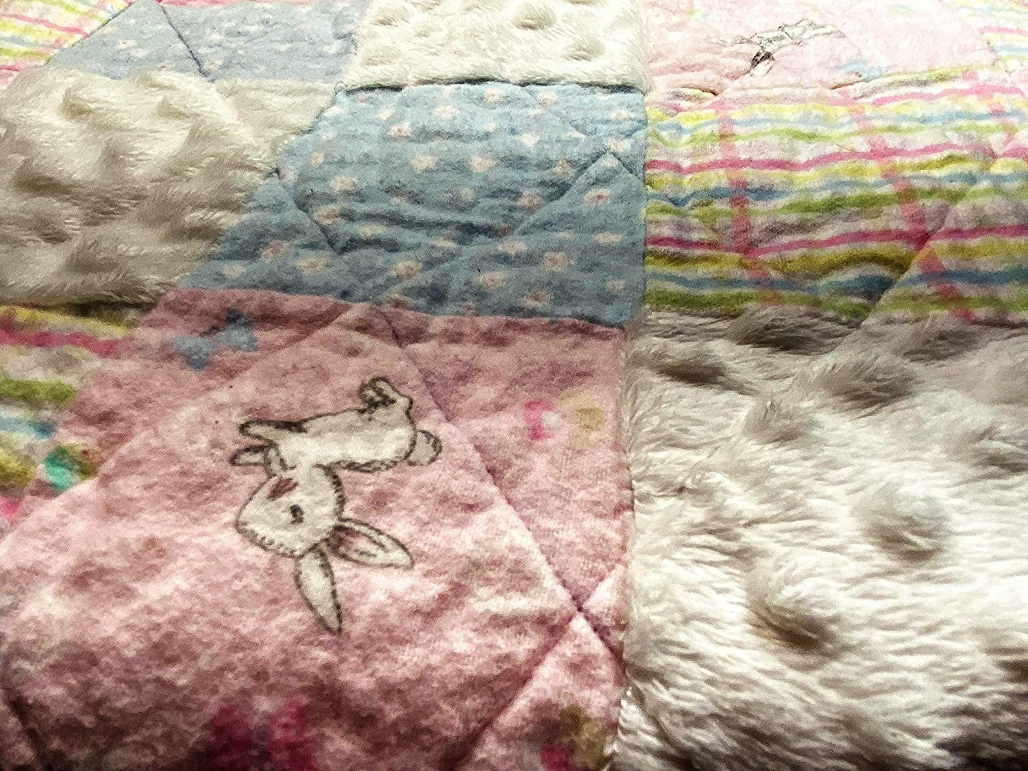 Image of Pastel Bunny Baby Quilt baby girl quilt Pink and Gray Bunny Quilt,handmade patchwork,toddler girl,new baby gift Home and Kitchen