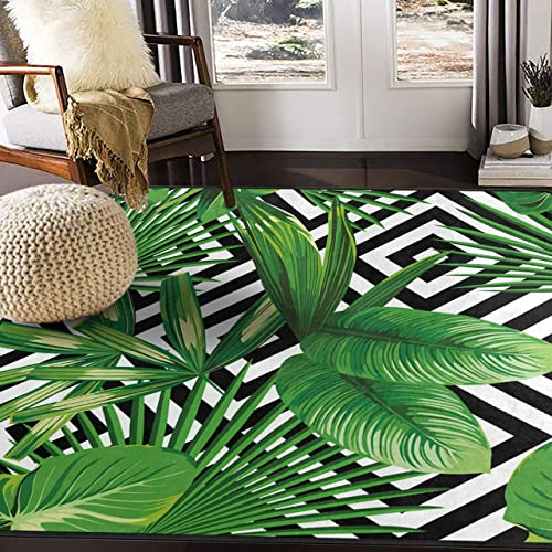 ALAZA Summer Exotic Jungle Tropical Palm Tree Leaves Area Rug Rugs