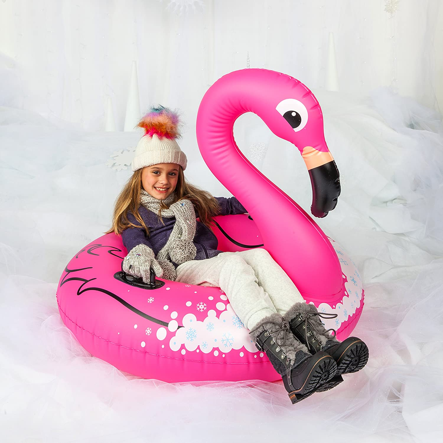 BigMouth Inc. Flamingo Snow Tube – 3 ft. Wide Inflatable Snow Tube with Easy Grip Handles, Made of Durable Vinyl with Welded Seams – Makes a Great Gift