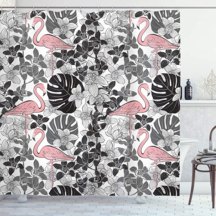 """Ambesonne Flamingo Shower Curtain, Flamingos Pattern Leaves and Flowers Tropical Plants on The Background, Cloth Fabric Bathroom Decor Set with Hooks, 70"""" Long, Pink Black"""