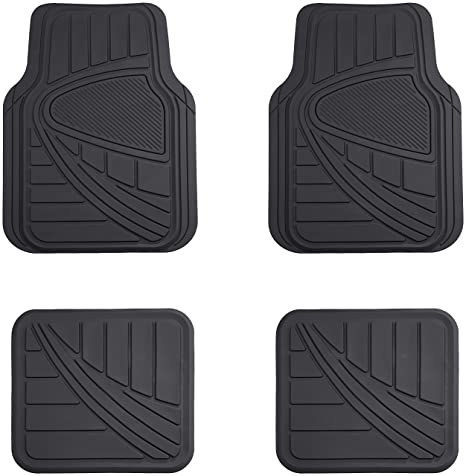 Amazon Com Amazonbasics 4 Piece Car Floor Mat Black Automotive