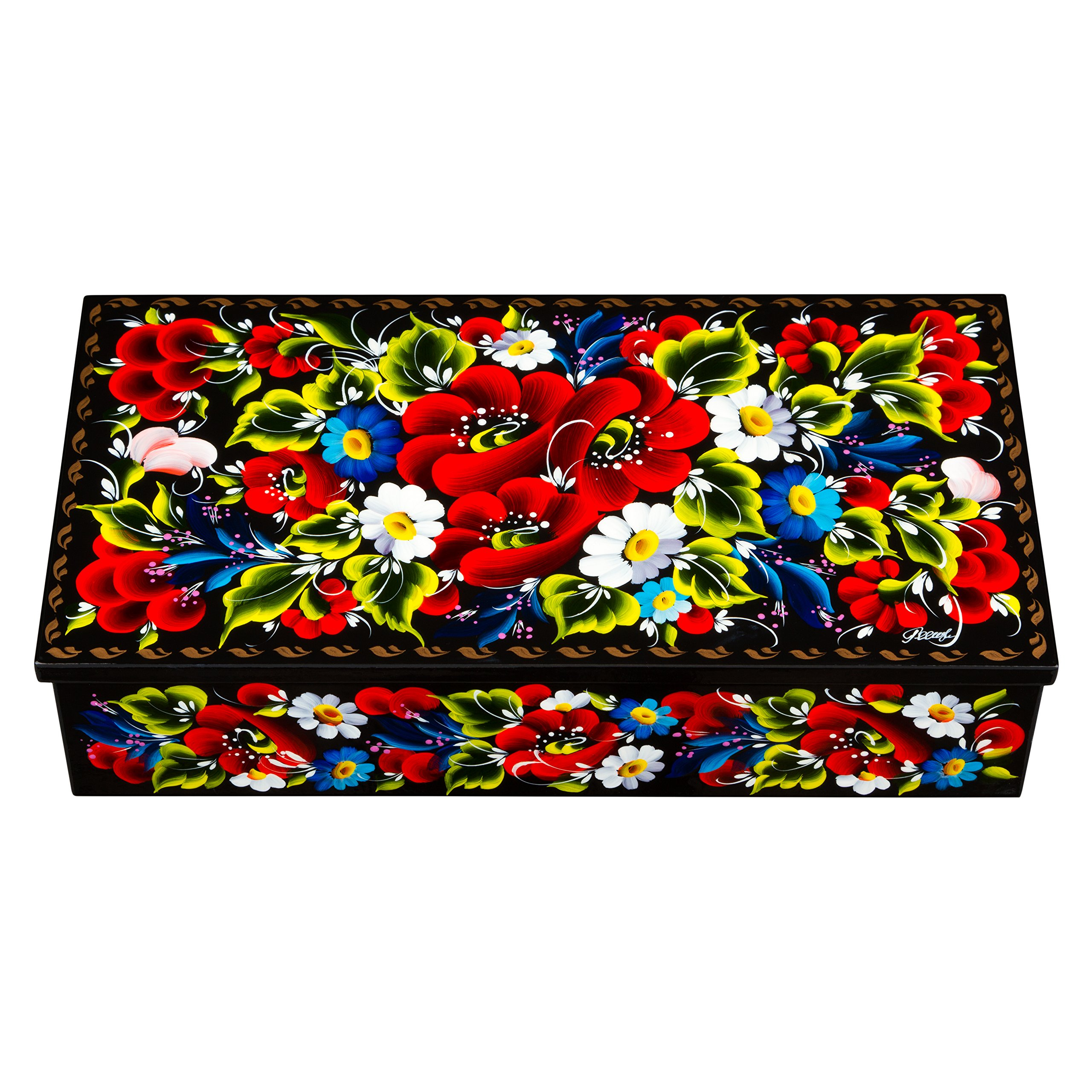 UA Creations Petrykiv Ethnic Rectangular Lacquered Wooden Jewelry Box with Lid, Hand Painted Flowers on Black, Beautiful Floral Design Gift for Girls and Women (red and Blue)