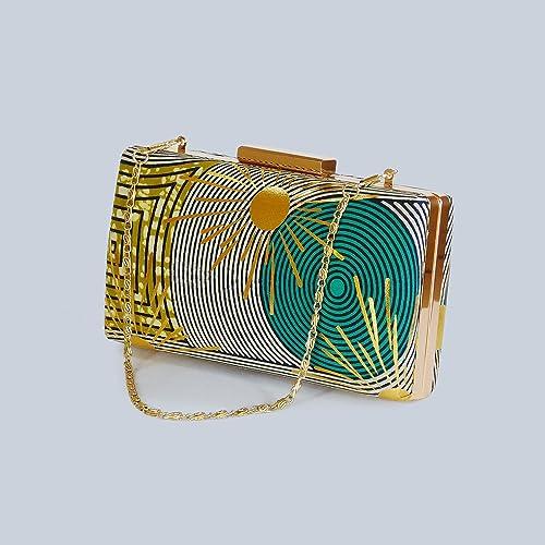 906f1860a6 Gold Print Ankara Clutch Bag by Blumi-London   Box Clutch bag Evening bag  Wedding accessories: Amazon.co.uk: Handmade