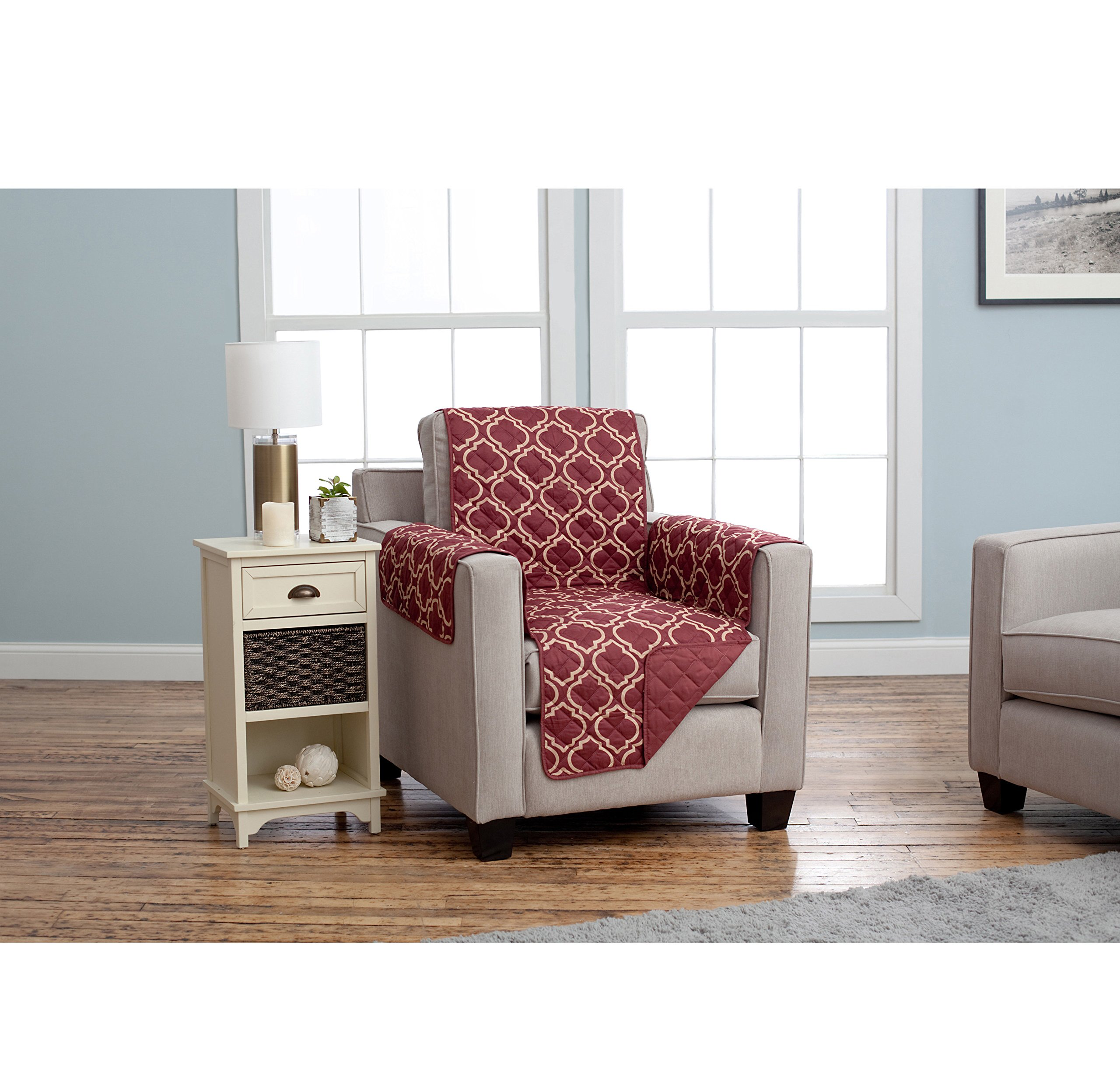 MN 1 Piece Burgundy Geometric Chair Protector, Medallion Shape Pattern Trellis Latice Chic Ikat Jacquard Modern Sleek Trendy Furniture Protection Covers Couch Protection Cover Pets Animals, Polyester