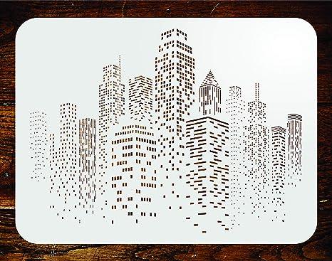 Rascacielos plantilla – reutilizable Ciudad Skyline Ciudad Edificios pared plantillas para pintar – uso en proyectos