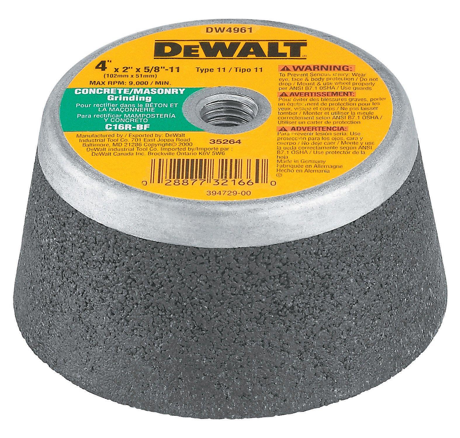 DEWALT DW4961 4-Inch by 2-Inch by 5/8-Inch -11 Concrete/Masonry Grinding Steel Backed Cup Wheel