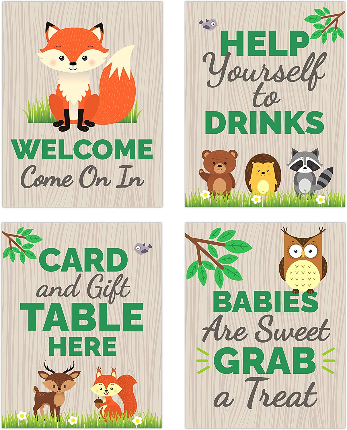 Woodland Baby Shower Table Decorations Signs - Centerpiece Decor Supplies