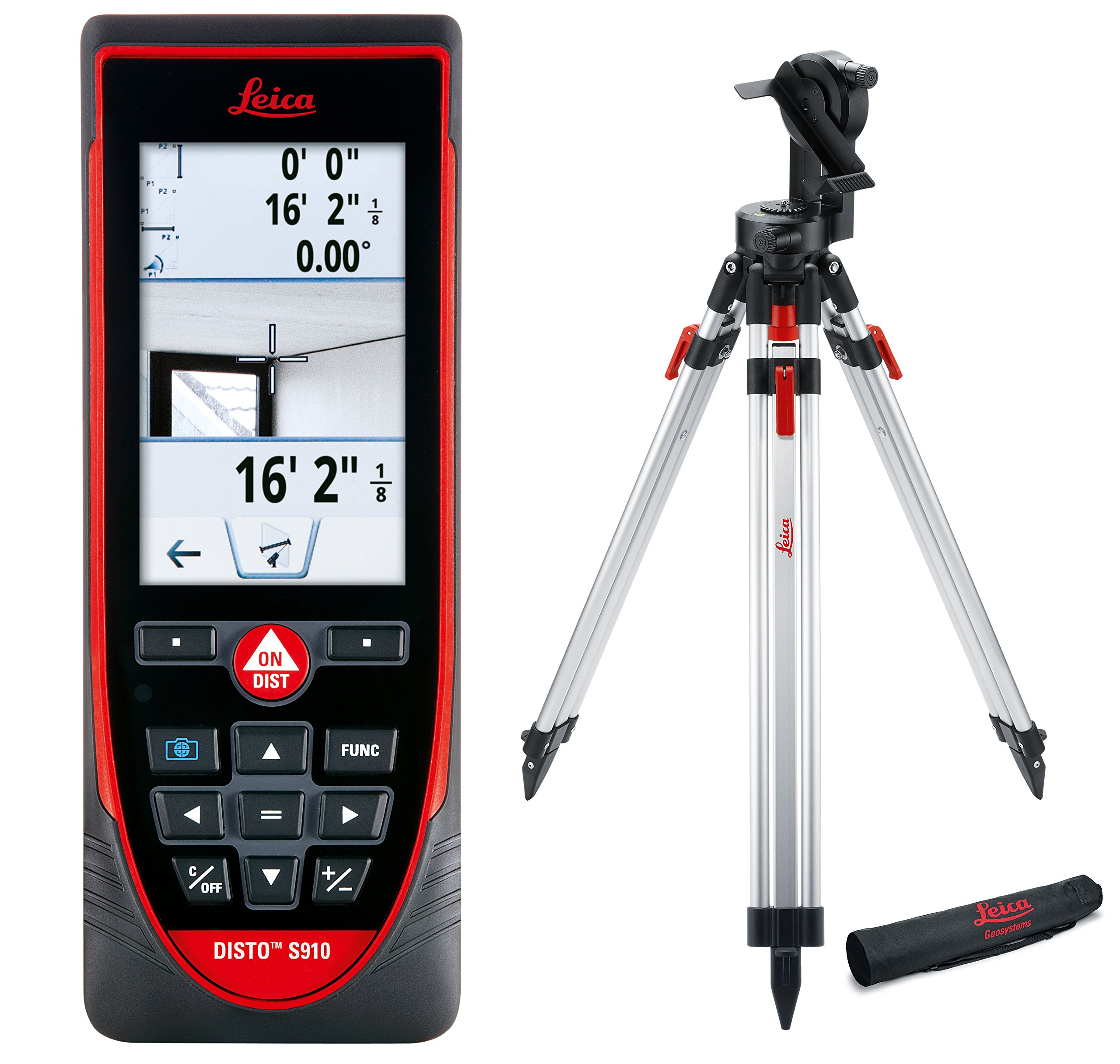 Leica DISTO S910 984ft Laser Distance Measurer, Point to Point Measuring, Red/Black (Exterior Package)