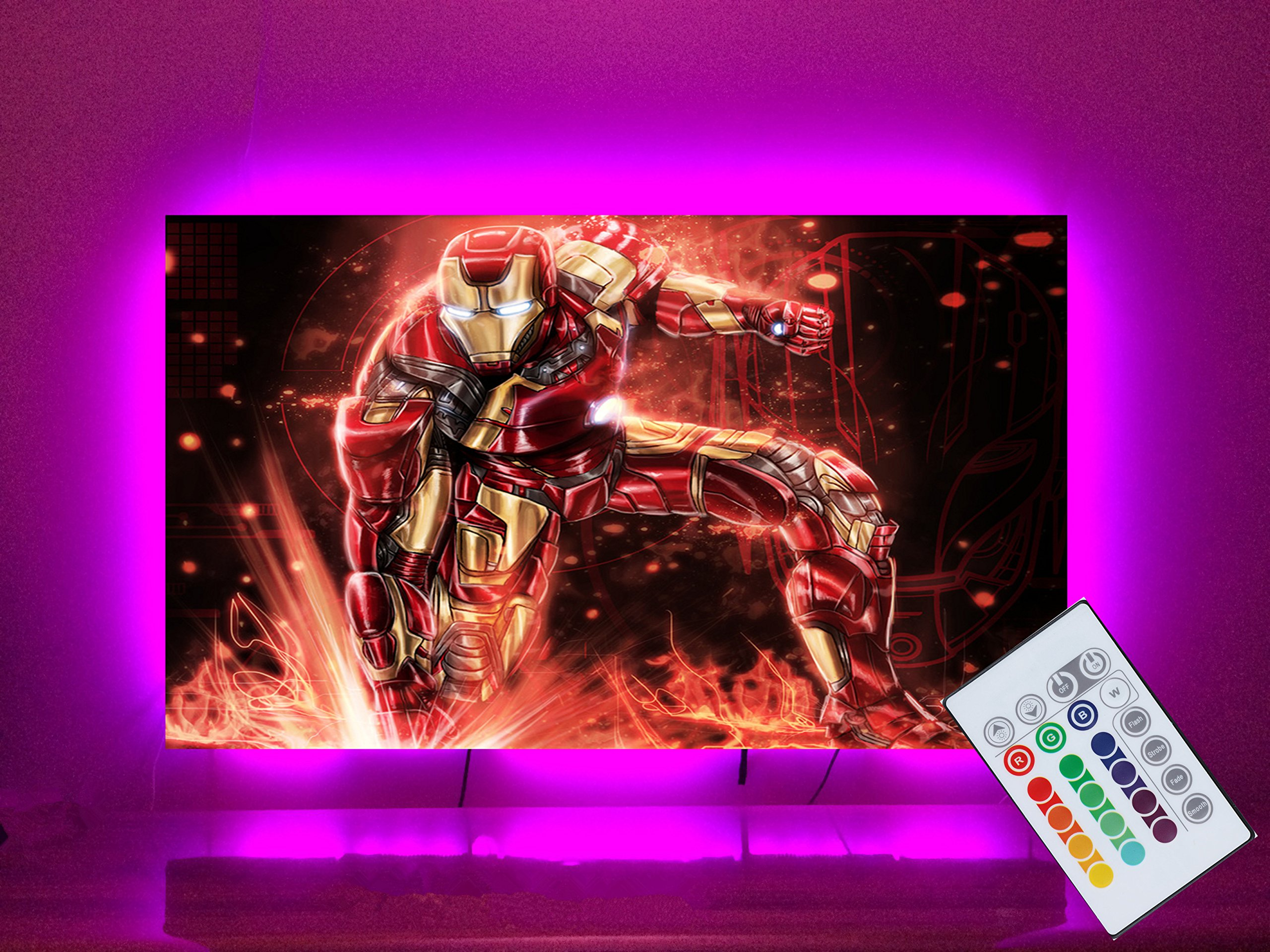 LED Strip Lights for 55 60 inches Back of TV Decor USB Operate 11.28ft Waterproof RGB Backlighting with 20 Colors Changing Remote (White 55'' 60'') by IDIFY (Image #2)