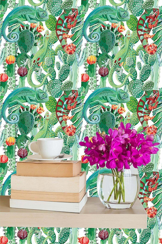 リムーバブル壁紙壁画Peel & Stickカメレオンとサボテン 26W X 78H Inches 26W X 78H Inches  B0736KN9SX