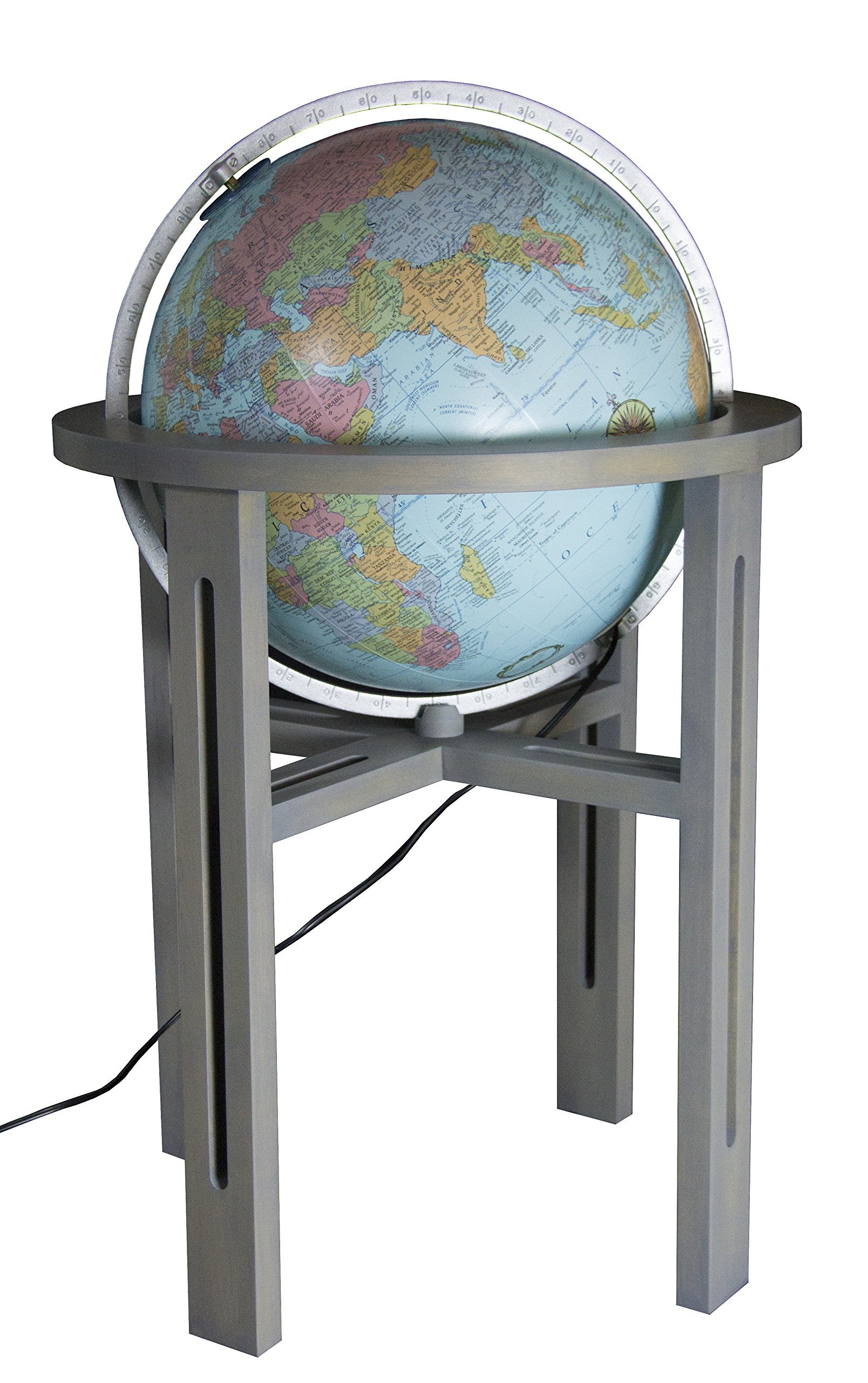 Replogle Mission Hand Covered Blue Illuminated Heirloom globe, Silver Ring and Maple Wood Stand with Grey finish, Floor Model Globe (20''/50cm diameter)