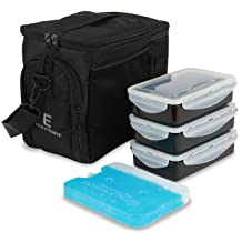 EDC Meal Prep Bag by Evolutionize - Full Meal Management System includes Portion Control Meal Prep Containers + Ice Pack
