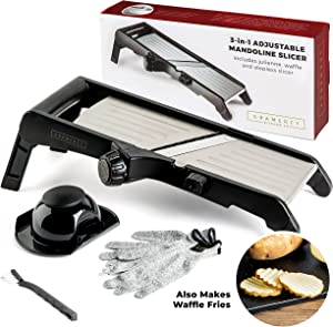 Mandoline Food Slicer, Adjustable Stainless Steel with Waffle Fry Cutter Potato Chip Vegetable Onion
