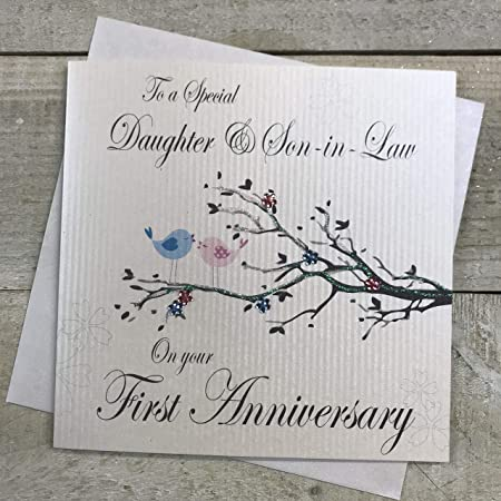 Plaque On your First Wedding Anniversary Handfinished 1st Anniversary Card