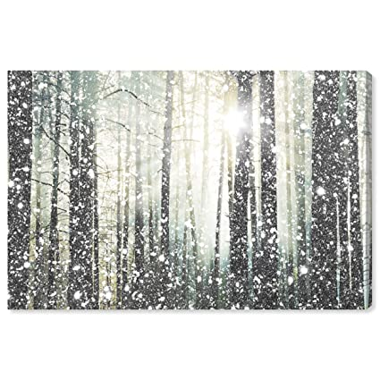 Modern Silver And White Forest Print On Canvas Bathroom Wall Art Decor 24 X 16