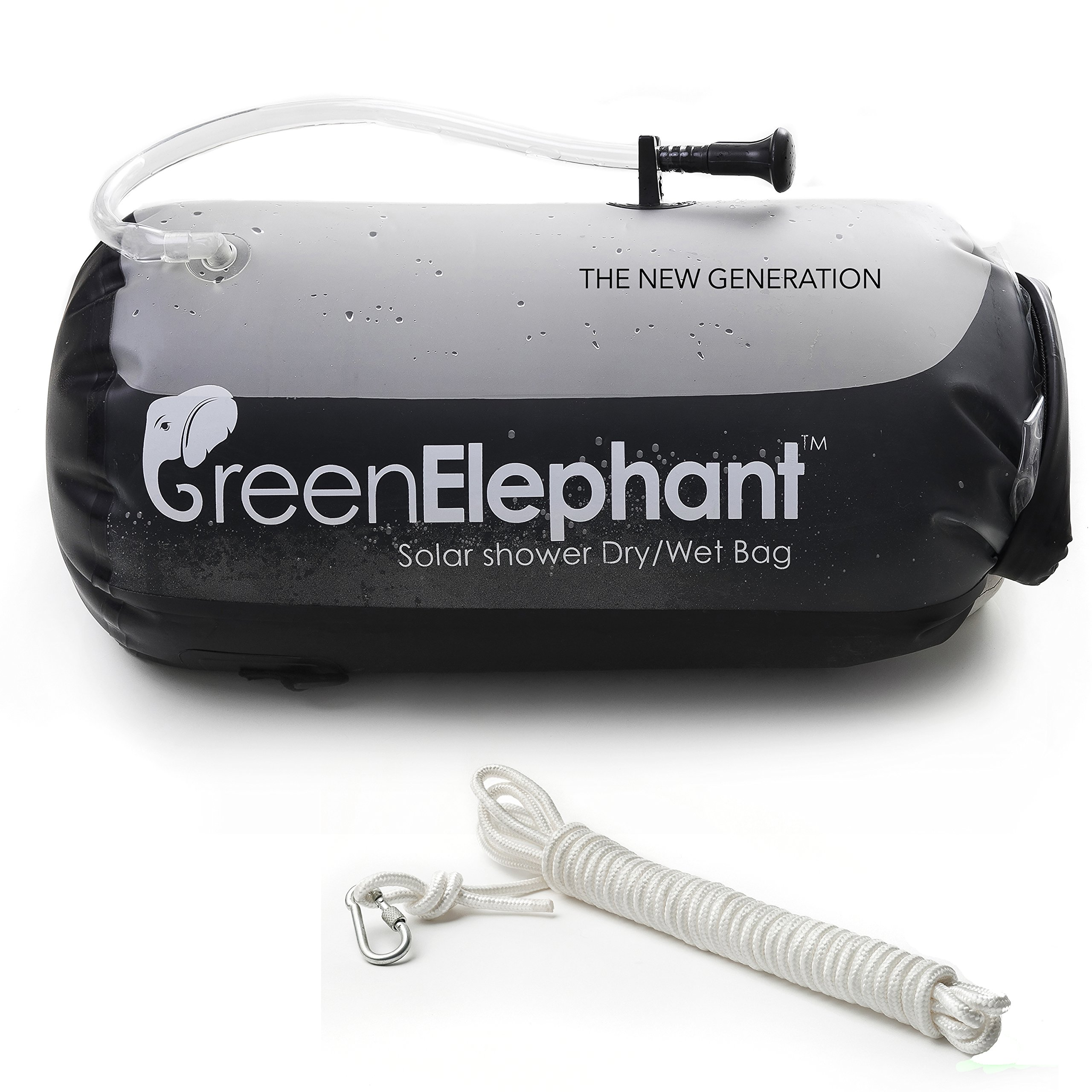 GREEN ELEPHANT 2-in-1 Solar Shower & Dry Bag Non-Toxic Leakproof TPU 5-Gallon Portable Solar Shower Doubles as Dry Storage Sack for Camping, Hiking, Fishing, Boating, Beach+Shower Hose, Free 5m Rope