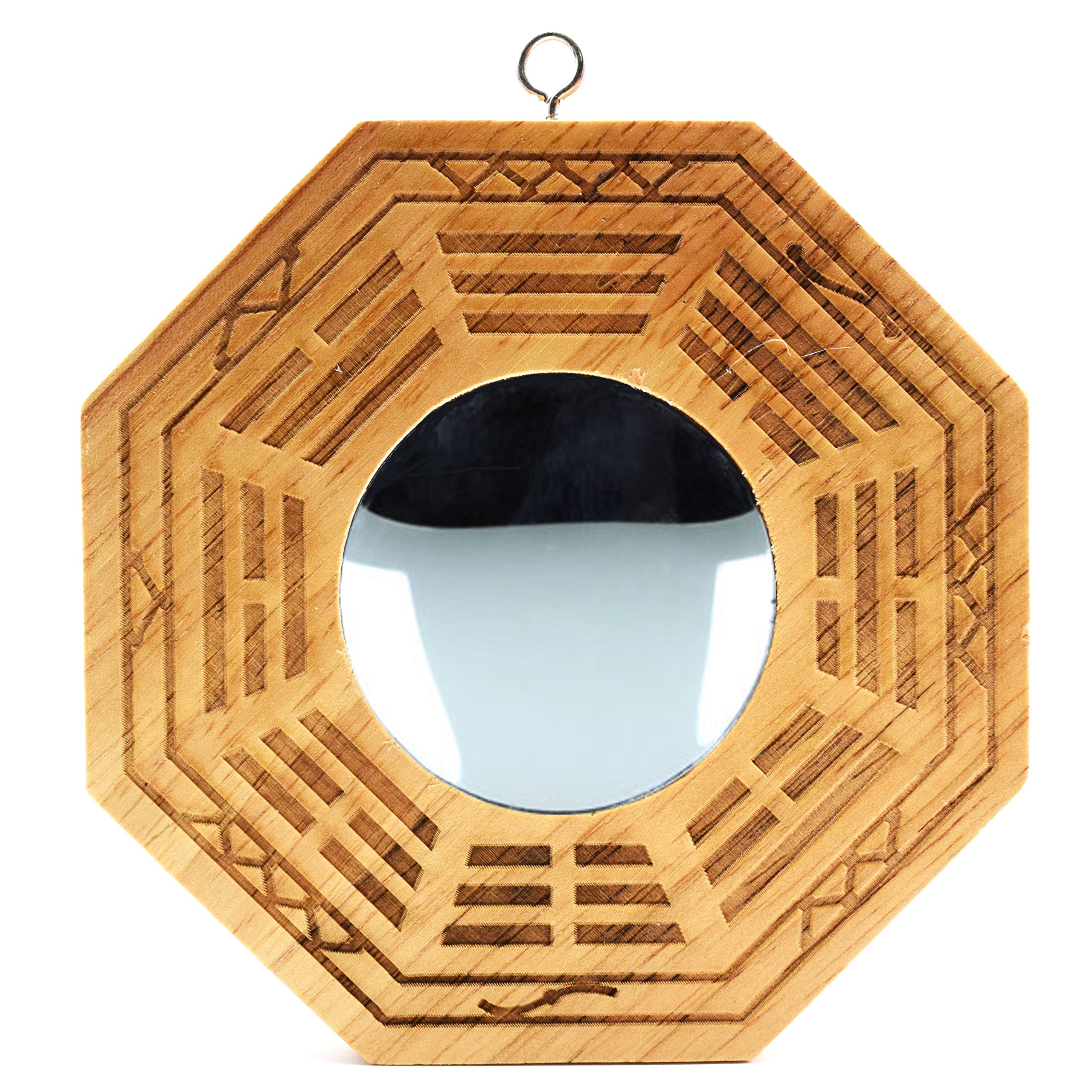 better us Feng Shui Wood Chinese Bagua Mirror 4 Inch (concave)