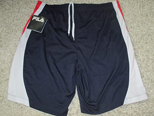 e729da80035c Image Unavailable. Image not available for. Color  FILA Performadri Mens  Navy Blue Red White Stripe Athletic Shorts XL