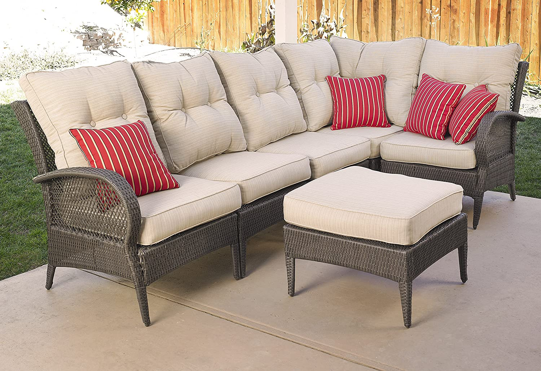 Amazon.com : Mission Hills Laguna 6 Piece Patio Sectional Seating, Wicker,  Dark Brown/Light Sand, Sunbrella Cushions : Patio Sofas : Garden U0026 Outdoor