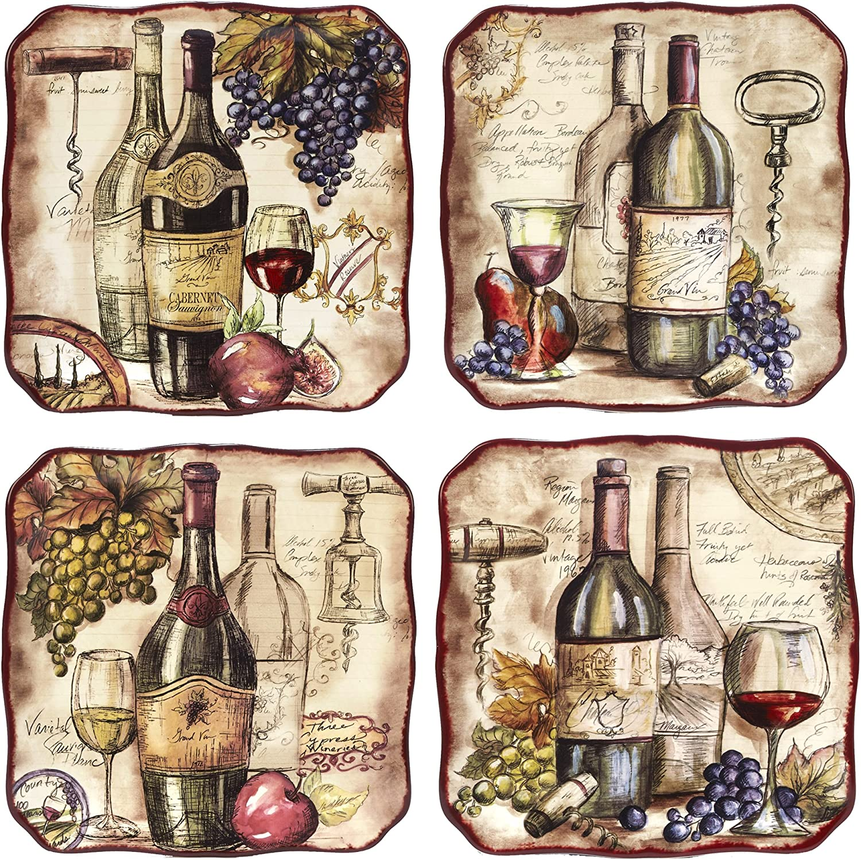 Set of 4 Multicolor Assorted Designs Certified International Corp 23735SET4 Vintners Journal 10.5 Dinner Plates