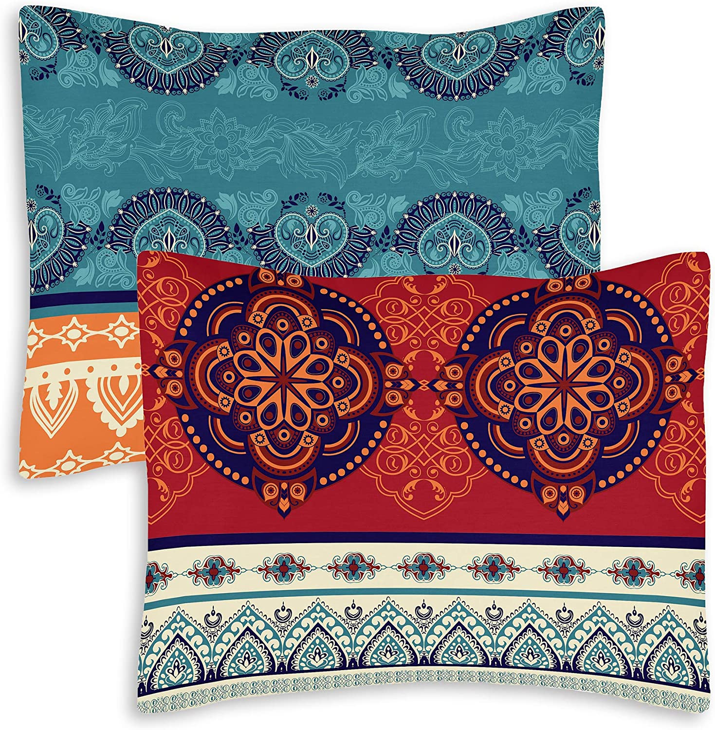 Boho Mandala Bohemian Chic Set of 2 Pillow Cases Standard Queen Pillowcase Sham Cover Set For Bed Red Teal Blue Orange Indian Patterned Turquoise Decorative Accent College Dorm Teen Home Room Décor