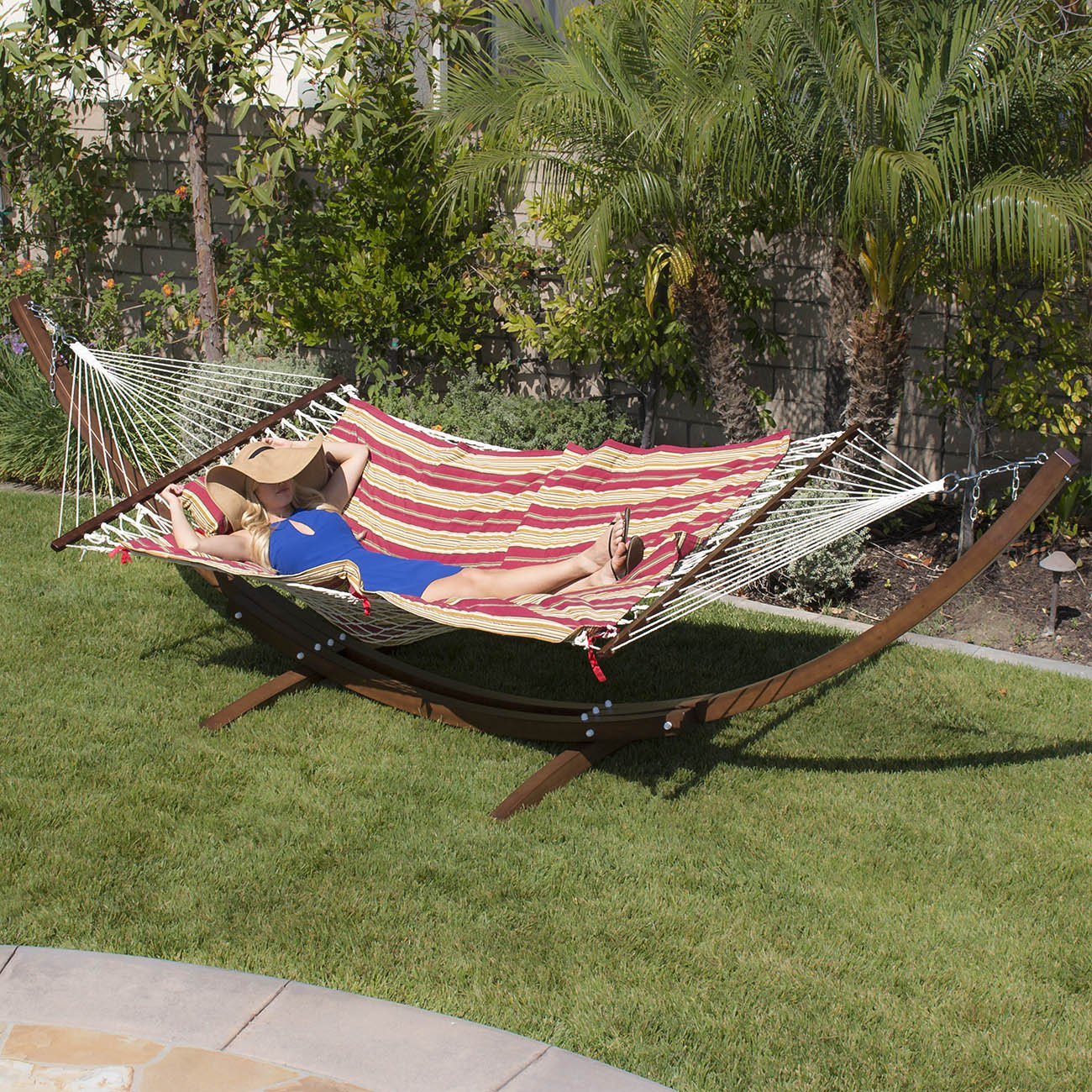 Belleze 13ft Wooden Curved Arc Hammock Stand, Back Yard Garden Caribbean Cotton w/ Tablet and Cup Holder