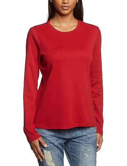 b478e74655274 Eddie Bauer 24502460 - T-shirt à manches longues - uni - Col ras du cou -  Manches longues - Femme - Rouge (rouge clair) - XS: Amazon.fr: Vêtements et  ...