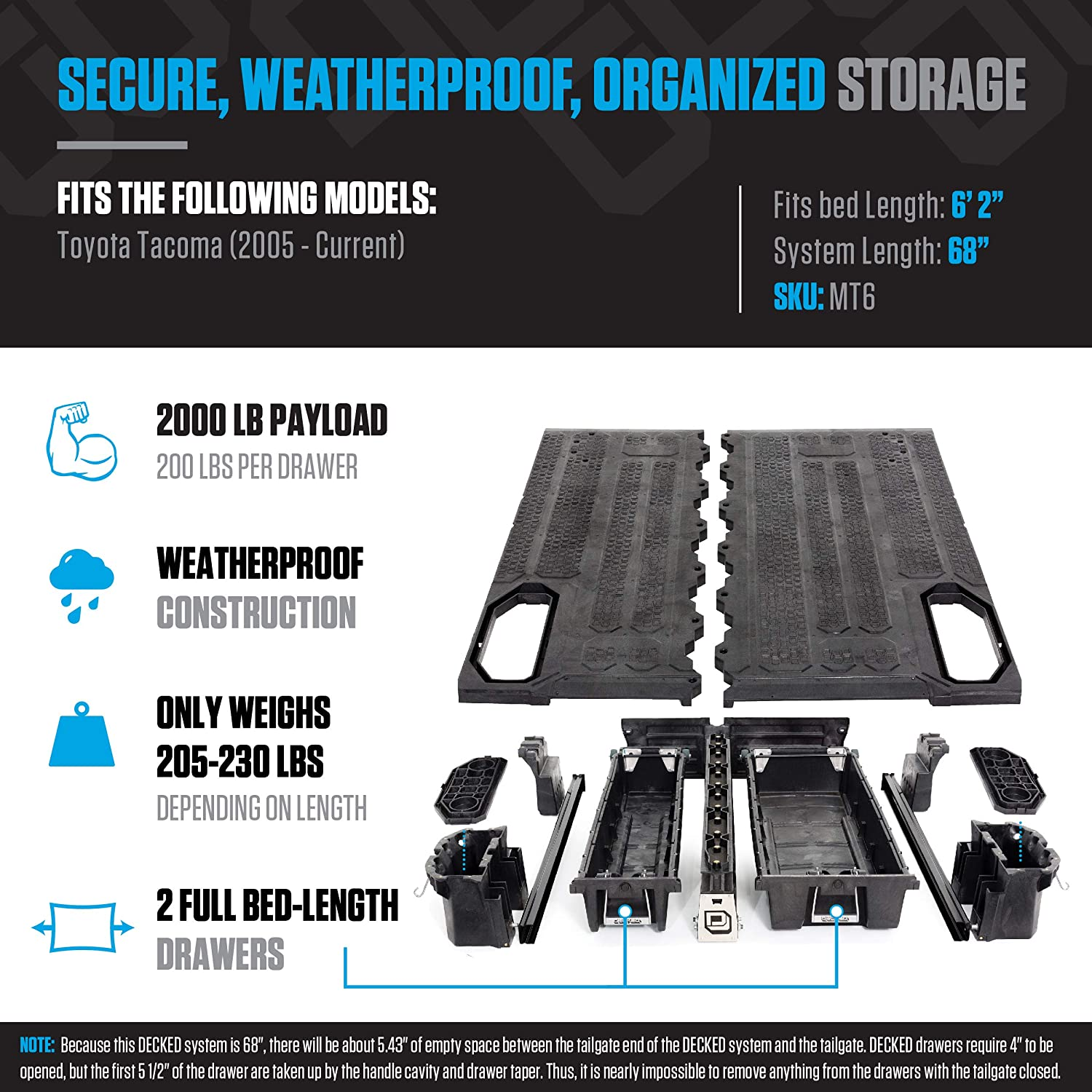 """DECKED Pickup Truck Storage System for Toyota Tundra 5/' 7/"""" Bed Length 2007-current"""