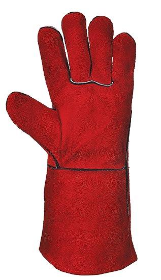 Soldador Heavyweight Guantes de protección contra el sudor de vacuno de hacha de piel para guantes de soldadura con Certificación CE de EN388 de en407: ...