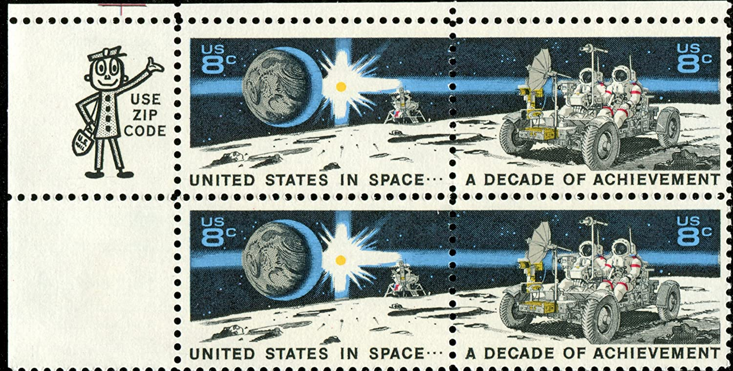 US POST OFFICE DEPT US POSTAL SERVICE A DECADE OF ACHIEVEMENT IN SPACE ~ THE EAGLE MOON LANDING CRAFT & THE LUNAR ROVER #1435b Zip Code Block of 4 x 8 US Postage Stamps