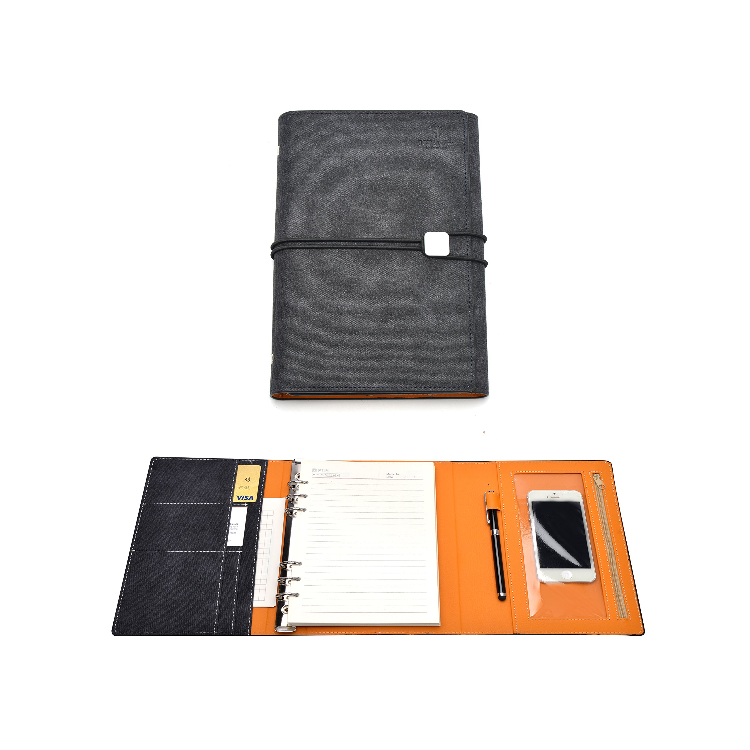JCT Hardcover Organizer Notebook - Leather Journal with Pen Holder + Phone Pocket + Business Card Holder + Binders, Bonus Touch Screen Pen & A5 6 Hole Resume Papers & Gift Card & Lovely Sticker