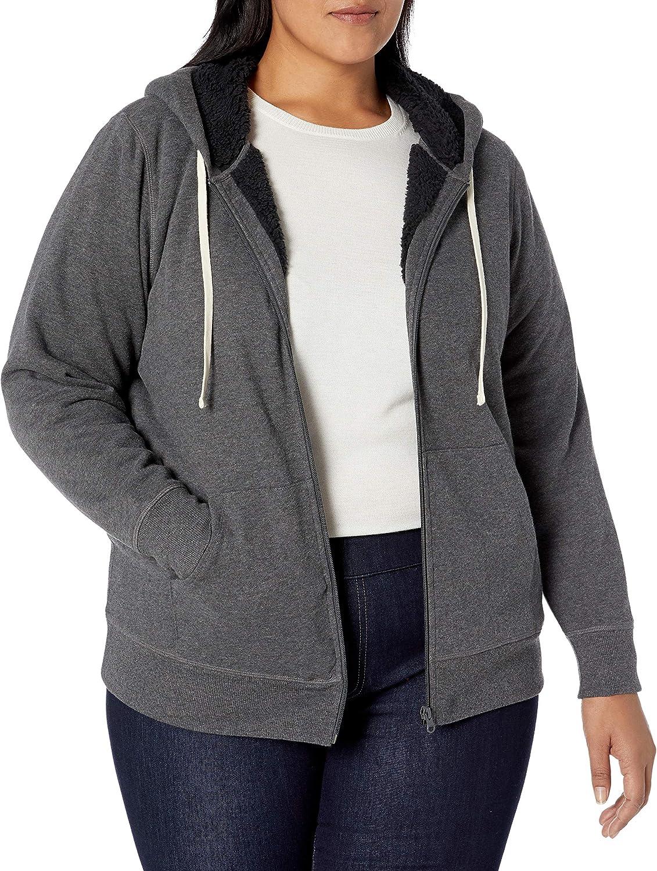 fashion-hoodies Femme Essentials Plus Size Sherpa-lined Full-zip Hoodie