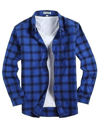 922fd694a34 Joey CV Mens Flannel Shirts Plaid Regular Fit Long Sleeve Casual Button  Down Shirts